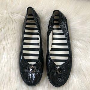 Coach Collins Black Patent Leather Slip On Flats